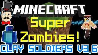 Minecraft Mods - ZOMBIE SUPER Clay SOLDIER VS Golden Sword&Armor Human !
