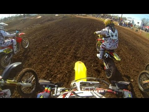 MXPTV - Lowell Spangler takes out a borrowed Suzuki RM250 2 stroke machine for his 250 A motos at Pagoda Spring Pro-Am in Birdsboro, Pennsylvania. Spangler would tak...