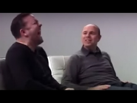 Karl Pilkington makes Ricky Gervais laugh hysterically
