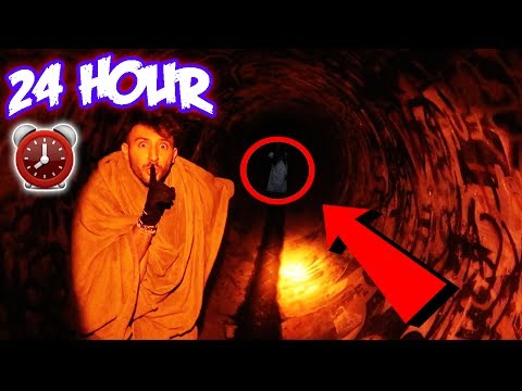 (WE HEARD HER) 24 HOUR CHALLENGE IN FAZE RUG TUNNEL | SLEEPING OVERNIGHT AT FAZERUG TUNNEL (видео)