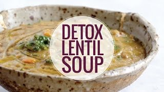 Detox Crockpot Lentil Soup - a nourishing and easy soup recipe made with onions, garlic, carrots, kale, olive oil, squash, and lentils. Vegan / vegetarian / gluten ...