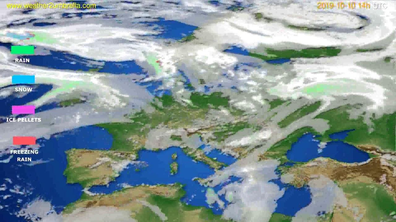 Precipitation forecast Europe // modelrun: 12h UTC 2019-10-08
