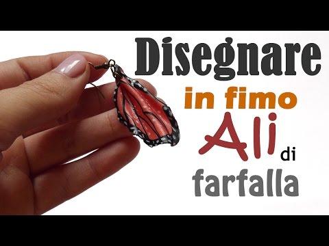 orecchini in fimo con ali di farfalla