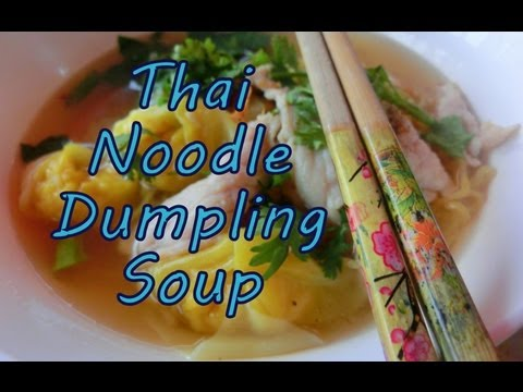 Thai Yellow Noodle Dumpling Soup Street Food in Chiang Mai, Thailand