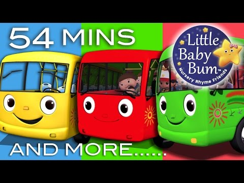 Bus - Wheels On The Bus | Plus 30 More Nursery Rhyme Videos! | 54 Minutes - huge compilation! 0:04 - Wheels On The Bus - Part 1 (Green Bus) 1:53 - Wheels On The Bu...