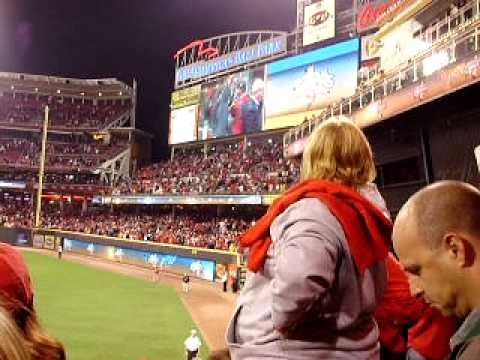 NL Central - celebration immediately after Jay Bruce hits the game winning home run.