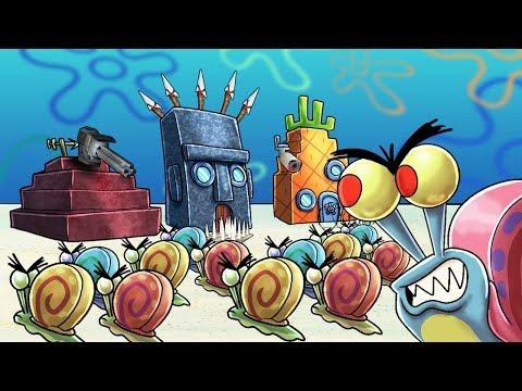 Minecraft   EVIL GARY THE SNAIL BASE CHALLENGE! (Base vs Spongebob)