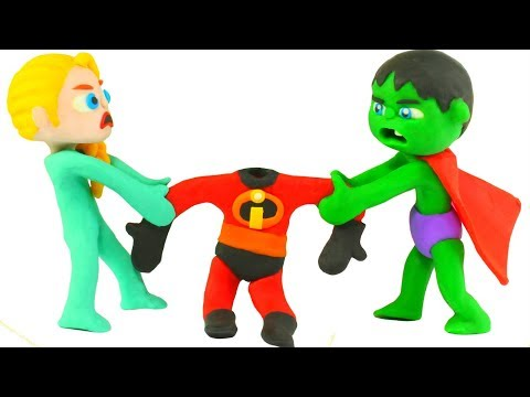 SUPERHERO BABIES WEAR THE INCREDIBLES SUITS Б SUPERHERO PLAY DOH CARTOONS FOR KIDS