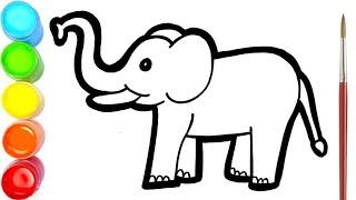 Menggambar Dan Mewarnai Gajah Untuk Anak-anak | Mewarnai Gambar