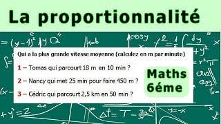Maths 6ème - La proportionnalité la vitesse moyenne Exercice 1