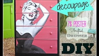DIY Decoupage Furniture with a 7$ poster, CeCe Caldwell Paint and a Thrift Store Dresser - YouTube
