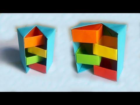 Hướng dẫn làm chiếc hộp giấy bí ẩn Origami   Xếp giấy nghệ thuật   Tư liệu mầm non
