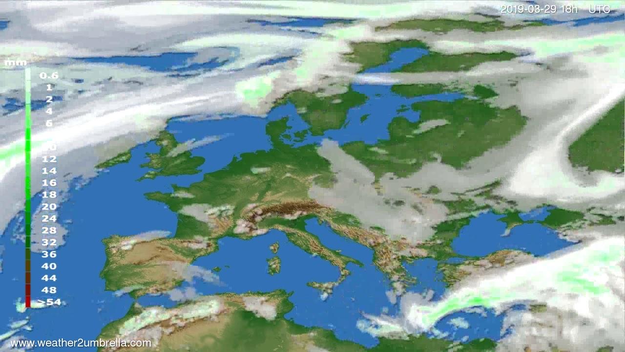 Precipitation forecast Europe 2019-03-29