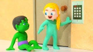 SUPERHERO BABIES TRY TO OPEN THE SECURITY DOOR  Spiderman, Hulk & Frozen Play Doh Cartoons For Kids