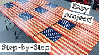 Video Most In-Depth Wood American Flag Build | Make Money Woodworking! | How to MP3, 3GP, MP4, WEBM, AVI, FLV Juli 2019