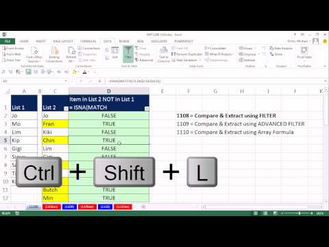 Compare 2 Lists and Extract Records Using Excel