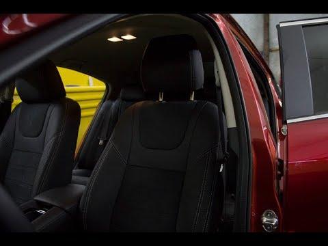 """Чехлы на Mazda 6 (GJ), серии """"Aurora"""" с алькантарой - серая строчка"""