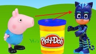 Vamos fazer vestidos e fantasias de massinha Playdoh pro George Pig (Jorge), da Familia Pig! Ela vai fantasiar de Menino Gato (Catboy), dos Herois de Pijama (PJ Masks)!!! Tambem tem muitos brinquedos surpresas!  Inscreve-se em ►http://www.happytoystv.net  e não perca os próximos vídeos. Massinhas PlayDoh Patrulha Canina aprendendo as cores abrindo brinquedos surpresas em portugues! Peppa é uma porquinha linda e amorosa tem 5 anos de idade e adora se divertir com seus pais, Papai Pig e Mamãe Pig , e seu irmãozinho George.Ela adora brincar de se fantasiar e passa o dia saltando entre poças de lama ao redor de sua casa. Suas aventuras sempre terminam com muitas gargalhadas!George Pig - irmão de 3 anos de Peppa, que adora brincar com sua irmã mais velha. Seu brinquedo favorito é um dinossauro, que ele leva para toda parte. Costuma chorar quando se assusta ou quando perde o seu amigo dinossauro.PJ Masks (Heróis de Pijama (título no Brasil) ) é uma série de desenho animado britânico-francesa produzido pela Entertainment One, Frog Box, e TeamTO. A série foi baseada na série de livros Les Pyjamasques de autor francês, Romuald Racioppo. É exibido pela Disney Junior nos Estados Unidos em 18 de setembro de 2015, bem como no Brasil e em Portugal. Em Portugal, a série estreou em 11 de janeiro de 2016, e no Brasil, estreou em 26 de setembro de 2016.Personagens PJ Masks - Connor/Catboy (Menino Gato no Brasil) - Amaya/Owlette (Corujita no Brasil e Corujinha em Portugal) - Greg/Gekko (Lagatixo no Brasil)Vilões - Romeo - Night Ninja (Ninja Nocturno) - Luna Girl (Garota Lunar no Brasil e Lunática em Portugal)Veículos - The Cat-Car (O Felinomóvel no Brasil e O Gatomóvel em Portugal) - The Owl-Glider (O Planador Coruja no Brasil e O Coruja-planador em Portugal) - The Gekko-Mobile (O Lagatixomóvel no Brasil e O Gekkomóvel em Portugal)Para não perder nenhum vídeo, inscreva-se:  http://www.happytoystv.netPlay-doh Massinha de Modelar Fazendo Vestido para Peppa Pig fantasiar Masha Brinquedo 