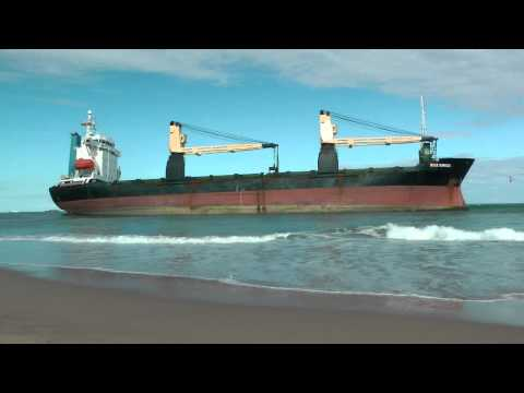 ship runs aground - The cargo ships BSLE Sunrise of Panama and the Celia of St Johns runs aground at the El Saler Beach after a big storm on Friday night of September 28, 2012 i...