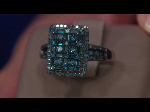 Cluster Design Blue Diamond Ring, Sterling, 1.00 cttw, by Affinity on QVC