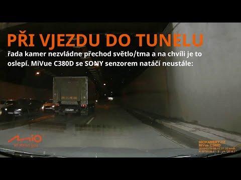 Autokamera Mivue C380 Dual | TEST v TUNELU | A30 zadní kamera | přechody do/ze světla | SONY senzor