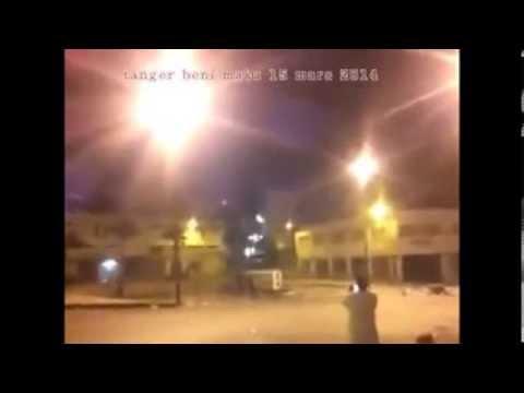 Beni Makada 15 mars 2014 Tanger مواجهات عنيفة اضطرت عناصر الأمن باطلاق عيارات نارية