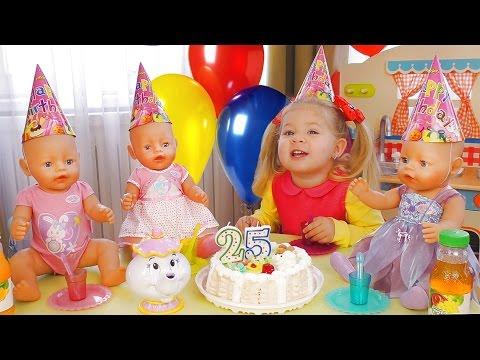 День Рождения Куклы Беби Бон МНОГО ПОДАРКОВ и Торт Видео для Детей Кукла Baby Born Игры для Девочек