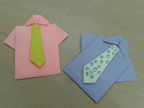 طريقة عمل قميص من الورق الملون - صنع قميص بالورق - اشغال يدوية