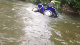 8. Yamaha Grizzly Tips Over In River Quad ATV