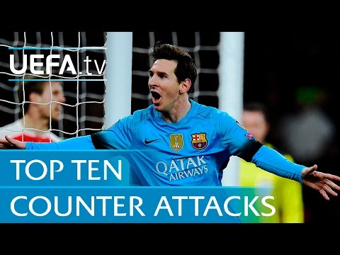 Top 10 counter attack goals - including Lionel Messi v Arsenal