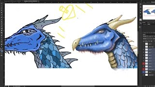 Fantasy dragon drawing paint over. Making your line art more realistic / turning your line art into a painting.This is my first ever over painting / paint over video, so hopefully I didn't screw it up too much! Someone sent me a drawing they had done of a dragon head from a side profile ( because I have other videos about painting dragons from the side view ) and asked me for some tips and advice. I decided I would take this advantage to do a dragon paint over video for Youtube.In this tutorial I try to explain how to make your work look more realistic. In this case, the illustration was quite flat without any real lighting and shadows and form. Also having line art prevented it from being realistic. Although I think the dragon design itself is pretty cool!I try to talk about working with light hitting planes and where the planes would be on a dragons face / dragons head. As well as painting some overlapping scales, dragon eyes, horns, teeth..etcI am far from the best but I hope my video will provide you with some useful painting tips and tricks :)facebook- http://facebook.com/learningasidrawdeviantart-  http://learningasidraw.deviantart.comtwitter- http://twitter.com/learningasidrawblog- http://learningasidraw.blogspot.co.uk
