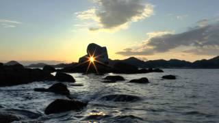 松山市 白石の鼻巨石群夕日の奇跡