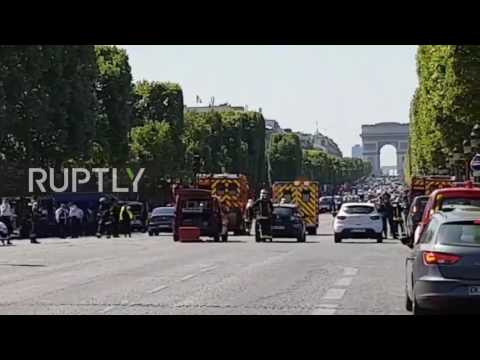 France: Champs-Elysees on lockdown after car crashes into police van