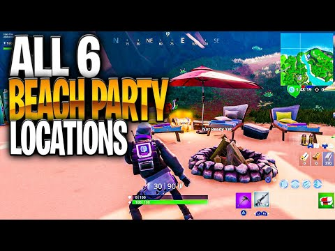 Dance At Different Beach Parties - ALL 6 BEACH PARTY LOCATIONS (Fornite 14 Days Of Summer)