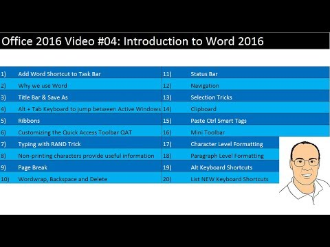 Office 2016 Video #04: Introduction To Word 2016: 20 Important Tips For Efficiency