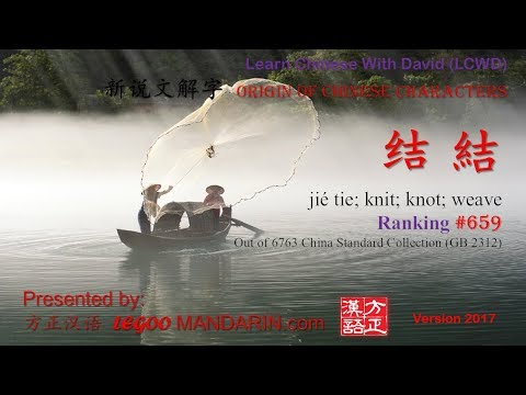 Origin of Chinese Characters - 0659B 结 結 jié tie; knit; knot; weave - Learn Chinese with Flash Cards