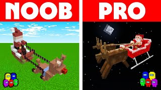 Among Us Vs Minecraft - NOOB VS PRO: SANTA SLEIGH CHALLENGE! Minecraft Among us Animation