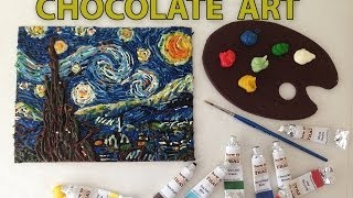 VAN GOGH Starry night in CHOCOLATE paint Speed Painting HOW TO COOK THAT Ann Reardon - YouTube