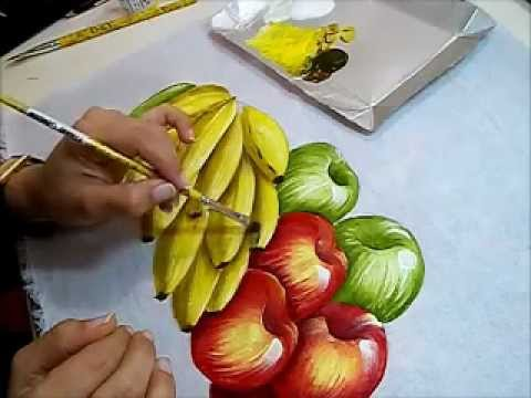 PINTURA EM TECIDO - BANANAS com MAÇÃS - HOW TO PAINT APPLES