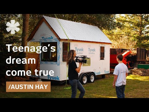 build - Austin Hay is still in high school, but he's building his own house. It's only 130 square feet, but it makes him a homeowner without a mortgage at just 16 ye...