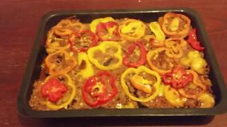 Mixed vegetables in the oven.