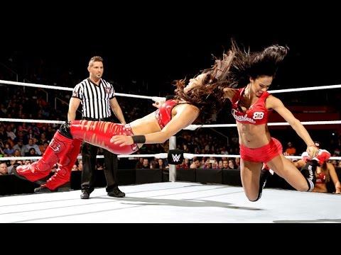 WWE Smackdown AJ Lee vs Brie Bella ( Aj Lee dressed up as Nikki Bella )