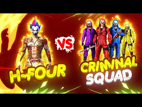Overpower H-Four Vs Criminal Squad || Free Fire Solo Vs Squad Insane Fight - Nonstop Gaming