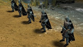 Fight between Guards of the Citadel and Castellans and Morgul Riders in Lord of The Rings: The Battle for Middle Earth II- The Rise of the Witch-King- Edain Mod.