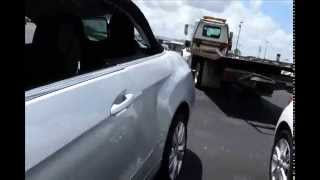 Rollback Tow truck, removing the Kia Soul tin can crash