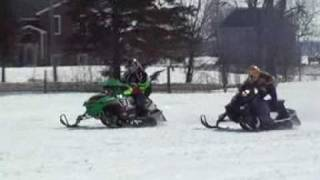 8. Arctic cat F7 Vs Ski-doo Rev Xp 800 snowmobile drag race
