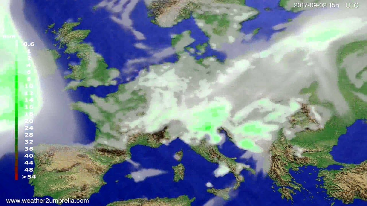 Precipitation forecast Europe 2017-08-31