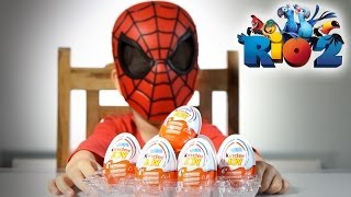 5 Kinder Joy Eggs Rio 2 Series Opening By Spider Man !