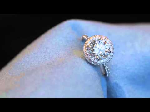 1.5ct Round Halo Engagement Ring with Diamond Details All Around the Basket