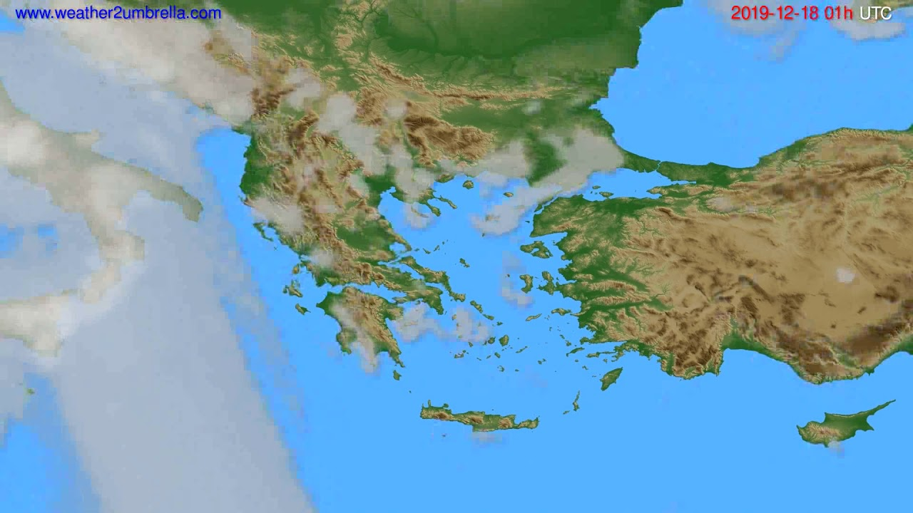 Cloud forecast Greece // modelrun: 12h UTC 2019-12-16